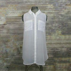 Rue 21 sheer white sleeveless button down tunic M